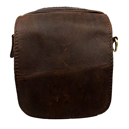 Genda 2Archer Hombres Pequeña Bolsa de Cintura de Cuero / Bolsa de Cintura, un Bolso Casual (amarillo marron) marron oscuro
