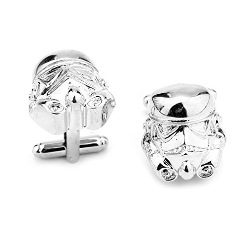 Beaux Bijoux Silver Tone Stormtrooper Mask Cufflinks - Star Wars Stormtroopers Novelty Accessories for Men