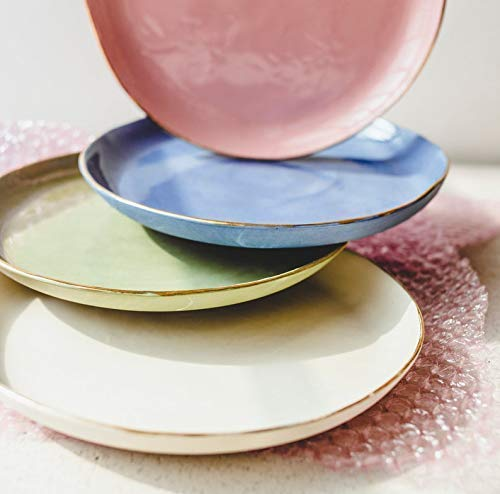 Handmade Colorful Porcelain Salad or Dessert Plates Set of 4 (Pastel Pink, Blue, Mossy Green, Creamy White with Genuine Gold Rims) - by SIND STUDIO