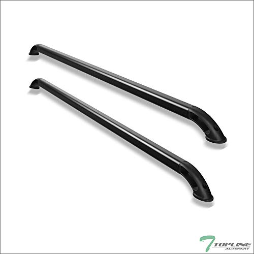 Topline Autopart Matte Black Nylon B Locker Style With Square Shaped Tube Truck Bed Side Rails FRC For 02-16 Dodge Ram 1500 2500 3500 8 Ft 96