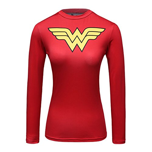Red Plume Women's Compression Fitness Sport T-Shirt Wonder Girl Long Sleeve Top Red ... (Woman Sleeve Wonder Long)