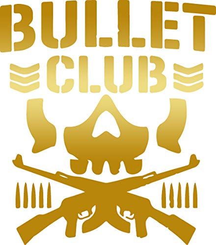 - ANGDEST Bullet Club Logo (Metallic Gold) - Premium Quality - Waterproof Vinyl Decal Stickers for Laptop Phone Helmet Car Window Bumper Mug Tuber Cup Door Wall Decoration