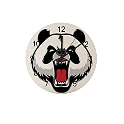 ZHONGJI Wooden Wall Clock Round Silent Non Ticking Battery Drive Home Decor Accessories Vintage Style Office Bedroom Panda Cartoon Wooden Clock