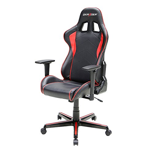 DXRacer FH08/NR Black Red Racing Bucket Seat Office Chair Computer Chair Ergonomic with Lumbar Support (Red)