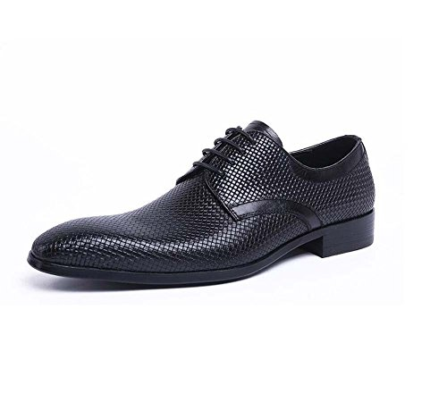 GLSHI Men's Business Pointed Scalp Shoes British Fashion Leather Hair Stylist Low Shoes New First Layer Leather Shoes (Color : Black, Size : 38)