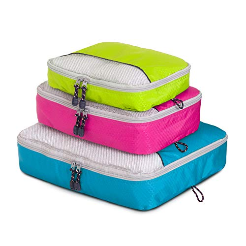 Globite 3 Piece Packing Cubes Travel Set - Durable Luggage Organizer Bundle (S, M, L)