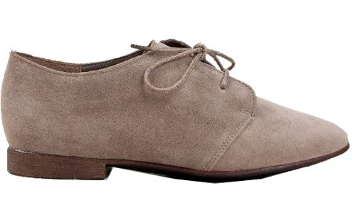 Oxford Round 31 31W Sandy Shoes Toe Breckelle's Suede Taupe Lace Vegan up 6C8nqZ7wx