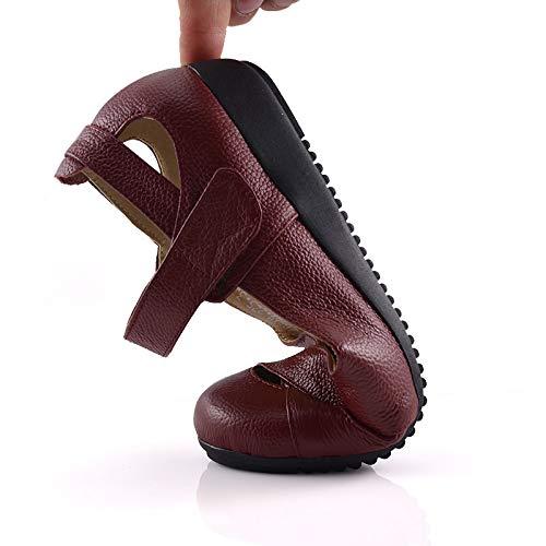 Plano Zapatos de Zapatos Skeleton Trabajo Cuero de FLYRCX Simple B cómodo Solo Embarazada Mujer Simples Fondo Zapatos Suave Zapatos Moda vq7Zgx