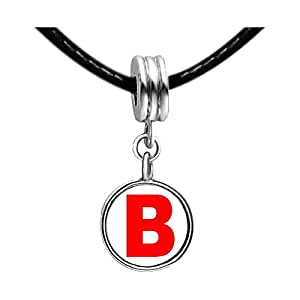 Chicforest Silver Plated Red Letter B Photo Sapphire Crystal September Birthstone Flower dangle Charm Beads Fits Pandora Charms