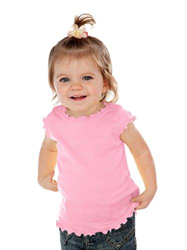 Kavio! Infants Lettuce Edge Scoop Neck Cap Sleeve Top Baby Pink 12M