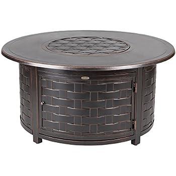 fire sense perissa woven round cast aluminum lpg fire pit garden outdoor. Black Bedroom Furniture Sets. Home Design Ideas