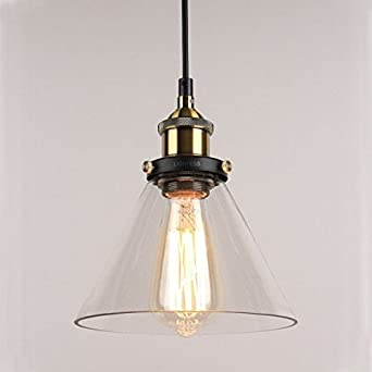 Vintage Industrial Cone Glass Pendant Ceiling Light For Kitchen Lights Bedroom Hallway Office Living Room