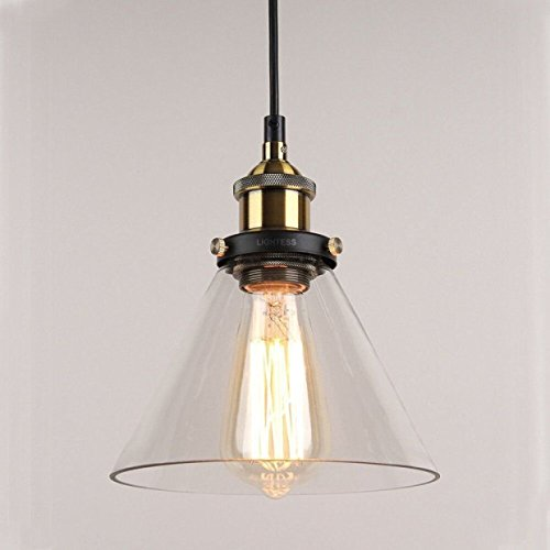 Vintage Industrial Cone Glass Pendant Ceiling Light for Kitchen Pendant Lights Bedroom Hallway Office Living Room & Vintage Industrial Cone Glass Pendant Ceiling Light for Kitchen ...
