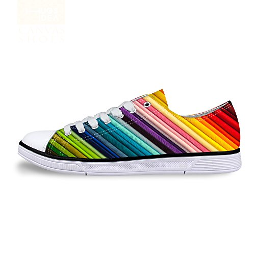 Shoes Wave DESIGNS up Stripe Unisex Stylish Sneaker Multi Print Low C6 Fashion Flat U Lace Top Lightweight FOR vB5qww