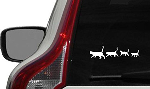Cats Family Silhouette Version 2 Car Vinyl Sticker Decal Bumper Sticker for Auto Cars Trucks Windshield Custom Walls Windows Ipad Macbook Laptop and More (WHITE)