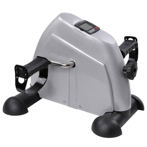 Portable Silver Mini Pedal Excercise Bike: Suitable for Upper and Lower Body Excercise by 999 Mega USA
