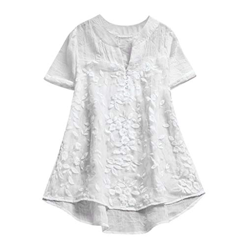 (Cewtolkar Women Tops Floral Print Blouse Pullover T Shirt Short Sleeve Tunic Lace Shirt Cotton and Linen Tees White)