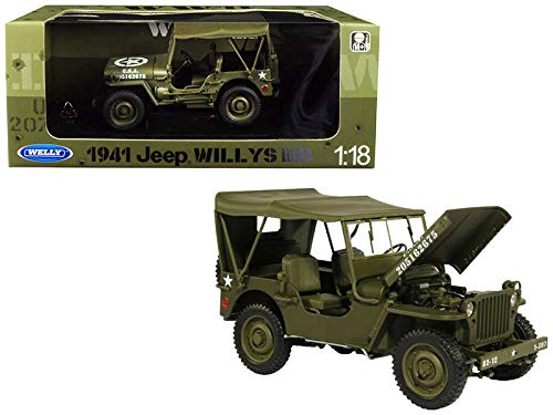 (1941 Jeep Willys MB with Soft Top Green WWII U.S. Army 1/18 Diecast Model Car by Welly 18055)