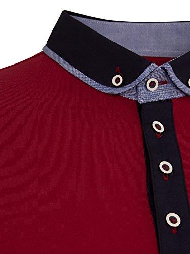 ETO Jeans Herren Klassisches Designer Sommer Polo Shirt T-Shirt Top S-XXL - XL, Weinrot