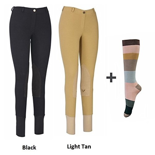 Rise Breech Low (TuffRider Women Starter Lowrise Pull On Breeches with FREE Assorted Striped Socks | Pack of Two Horse Riding Pants | Equestrian Apparel)
