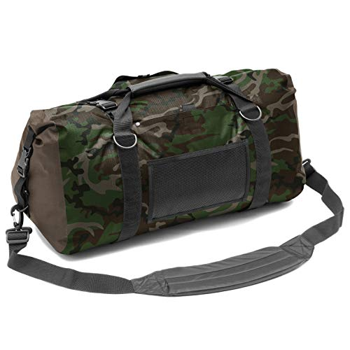 Aqua Quest White Water Duffel - 100% Waterproof 50 L Bag - Lightweight, Durable, External Pockets - Camo