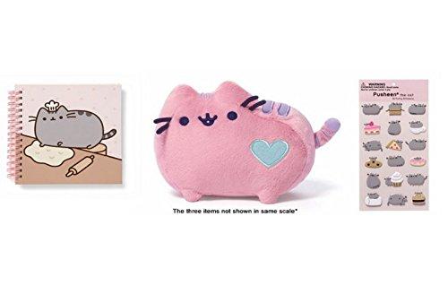 """Bundle Gund Pusheen Pastel Pink Plush 6"""", Notebook, 18 Sticker Sheet"""