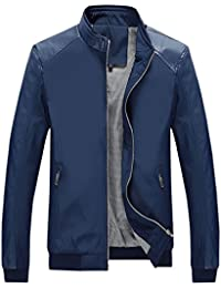 Men's Casual Stand Collar Slim Leather Sleeve Bomber Jacket