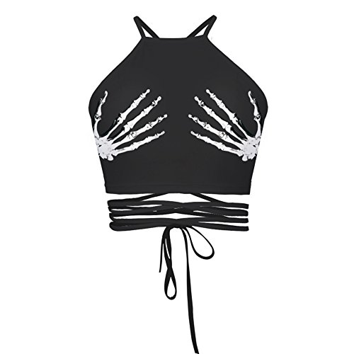ABCHIC Women's/Big Girls' Short Tank Tops Halter Drawstring Backless Fit For Over 14 Years Old
