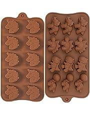 Orapink 2 delar djur silikon chokladformar dinosaurie enhörning form kaka choklad godis form set för bakning