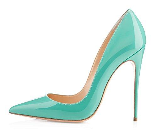 EDEFS Escarpins Femme - Sexy Talon Aiguille - 120mm High Heel Chaussures - Grande Taille Vernis Bleu rAmmb7uWsV