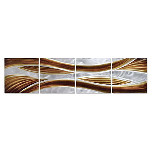Pure Art Caramel Desire Metal Wall Art, Large Scale Metal Wall Decor in Abstract Design, 3D Wall Art for Contemporary Decor, 4-Panels Measures 51