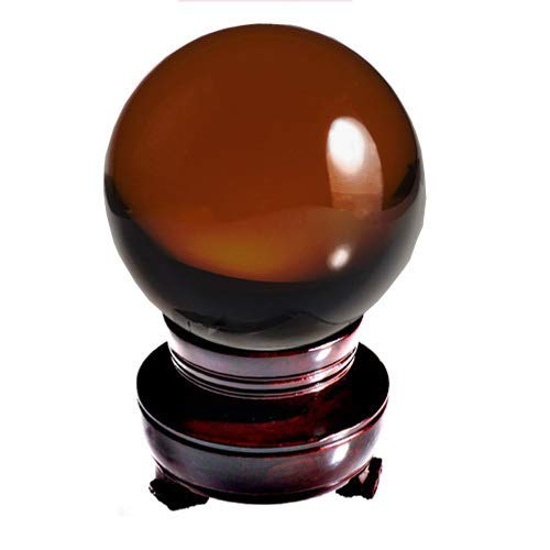 Amlong Crystal New Burnt Orange Crystal Ball Sphere Asian Quartz 80mm (3 inch) with Wooden Stand