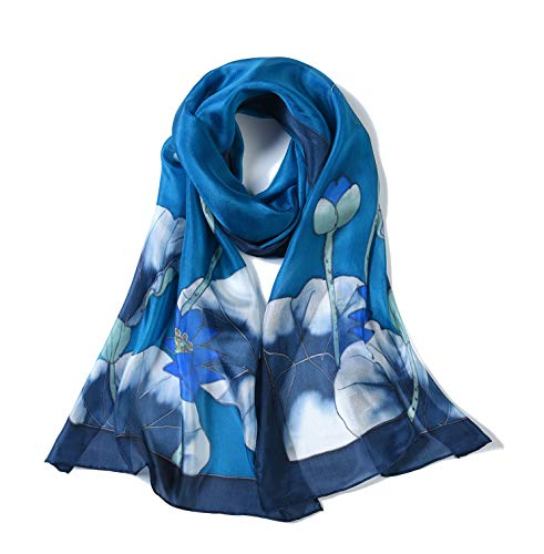 Invisible World Women's 100% Mulberry Silk Scarf Long Hand Painted Blue Lotus