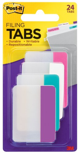 Post-it Tabs, 2-Inch Solid, Assorted Colors, 6-Tabs/Color, 4-Colors, 24-Tabs/Pack