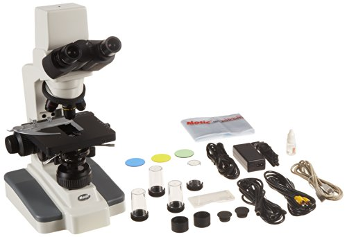 "Motic 1100400800231 Model DMWB3-223ASC Digital Siedentopf Binocular Compound Microscope, WF10x Eyepieces, ASC High-Contrast Objectives, 40x-1000x Magnification, Brightfield, Kohler, Halogen Illumination, Mechanical Stage, 100V-240V, Includes 1/3"" CCD Camera and Software"