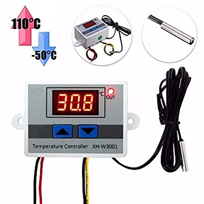 HiLetgo DC 12V 10A Digital LED Temperature Controller XH-W3001 Mini Thermostat -50 to 110 Degree Heating/Cooling Temperature Control Switch with Waterproof Sensor Probe