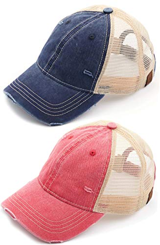 H-6140-2-912-3142 Trucker Hat Bundle: Navy & Red WASHED (2-pack)