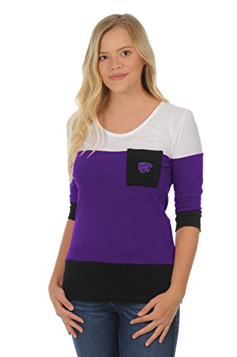 UG Apparel NCAA Kansas State Wildcats Adult Women Colorblock Top, X-Large, Purple/Black