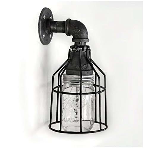 Amazon Bathroom Light Fixtures: Amazon.com: Industrial Wall Sconce Pipe Lighting W/ Mason