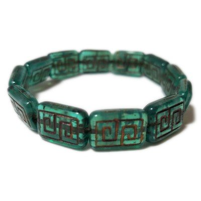 - 12 Czech Glass Greek Key Glass Beads. Jade Translucent with Bronze Wash. Beading, Crafting.