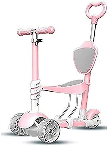 キックボード こどもスクーター スクーターバー、大人スクーター、スクーターホイールは、キックの子供たちが調節可能な座席をキックし、パター、Puのワイド1-3Yr古い、75キロロード用ホイール幼児、調節可能なハンドルバーを点滅します (Color : Pink)
