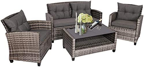 Tangkula 4 PCS Patio Wicker Conversation Furniture Set