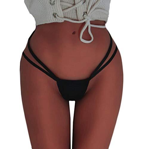 ❤️ QIQIU Women's Sexy Seamless Bandage G-String Panties Briefs Underwear Lingerie Knicker Fashion Thongs (4XL, Black)