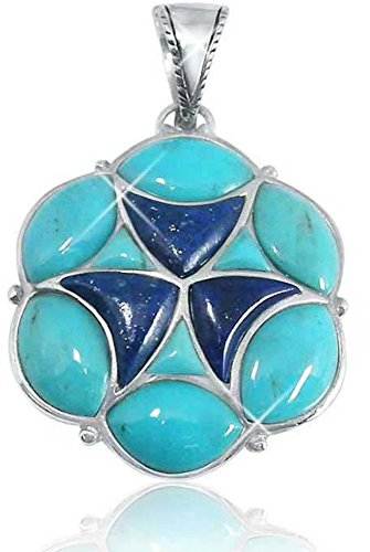 - Sterling Silver Pendant with Marquise Stabilized Turquoise and Free Shape Lapis Lazuli Stones (BTS-NP7558/STQ/R)