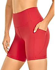 CRZ YOGA Women's Brushed Naked Feeling Biker Shorts 6 Inches - High Waist Matte Workout Yoga Shorts with Pockets