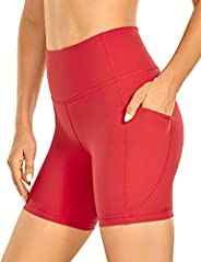 CRZ YOGA Women's Brushed Naked Feeling Biker Shorts 6 Inches - High Waist Matte Workout Yoga Shorts with P