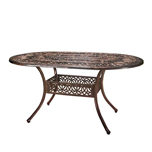 "Christopher Knight Home 296532 GDF Studio Jameson | Cast Aluminum Outdoor Oval Dining Table | Perfect, 37.50""D x 59.75""W x 28""H, Copper"