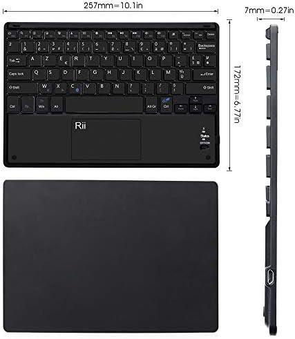Rii BT11 Clavier sans Fil Ultra Fin Bluetooth AZERTY avec Touchpad de Multi-Fonction pour Windows, Linux/UbuntuMac/iOS(Pas la Fonction de Touchpad), Android, Tablette, Smartphone
