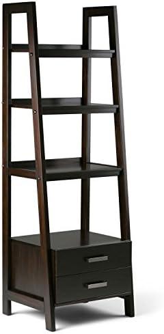 Simpli Home Sawhorse SOLID WOOD 72 inch x 24 inch Modern Industrial Ladder Shelf