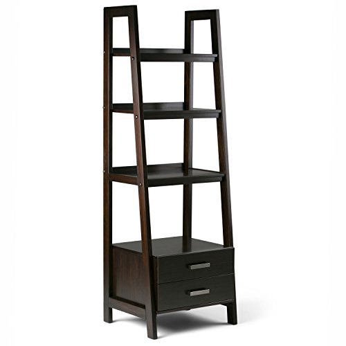 Simpli Home Sawhorse Solid Wood Ladder Shelf Bookcase with S